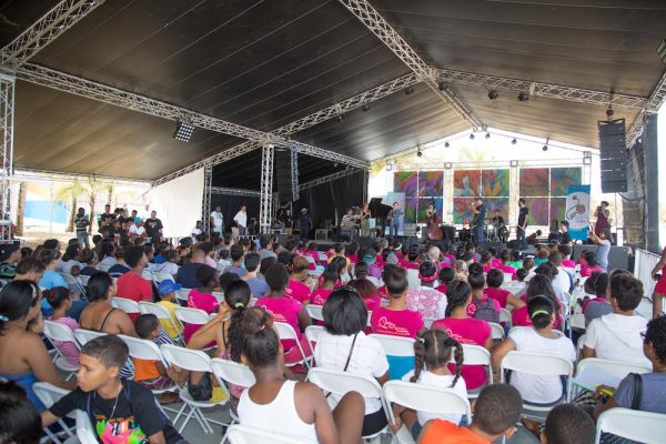 FEDUJAZZ students perform a youth concert on the mainstage as a part of the 2018 Dominican Republic Jazz Festival.
